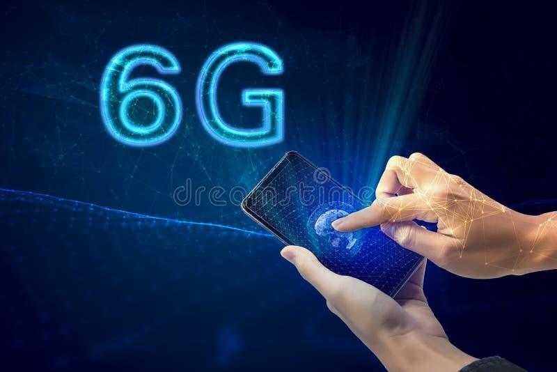 Idérik anslutningsbakgrund, mobiltelefon med hologrammet 6G på bakgrunden av den nya världseran, begreppet av nätverket 6G, stock illustrationer