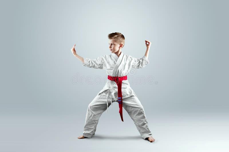 Idérik bakgrund ett barn i en vit kimono i en slåss slagställning, på en ljus bakgrund begreppet av kampsporter royaltyfri bild