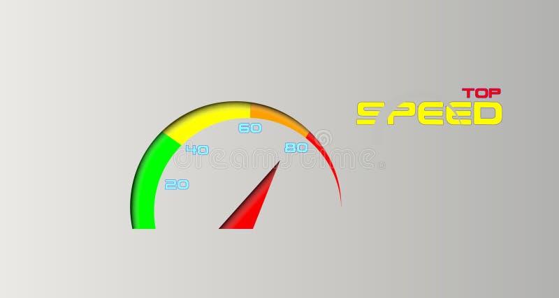Idérik bakgrund med bästa hastighet för hastighetsmätare och för slogan stock illustrationer