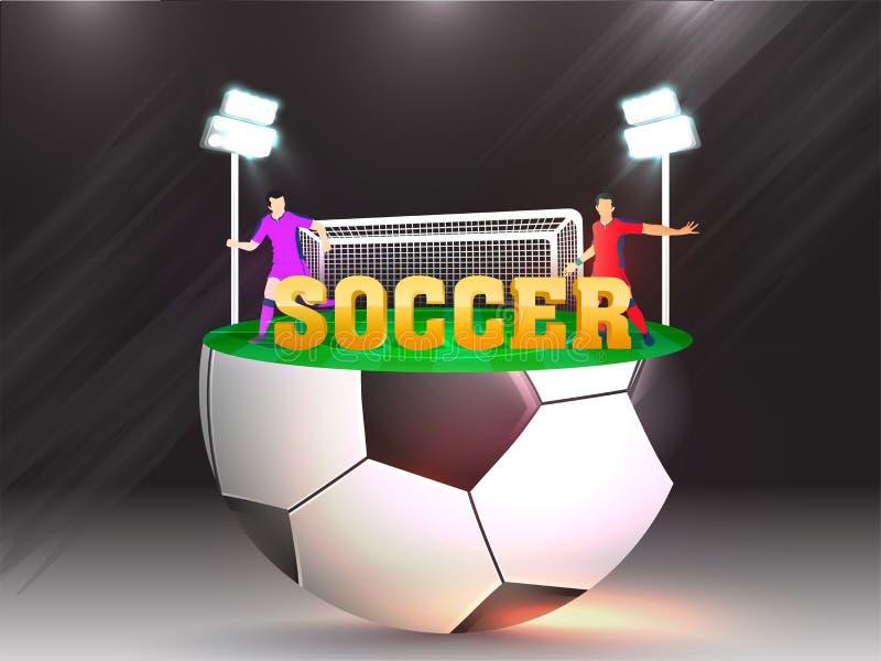 Idérik baner- eller affischdesign med guld- fotboll för text 3d och spelaretecken på stadion vektor illustrationer