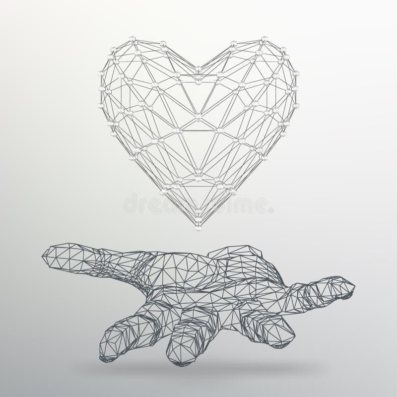 Idérik begreppsbakgrund av hjärtan på armen Abstrakt idérik begreppsvektorbakgrund av geometriska former royaltyfri illustrationer