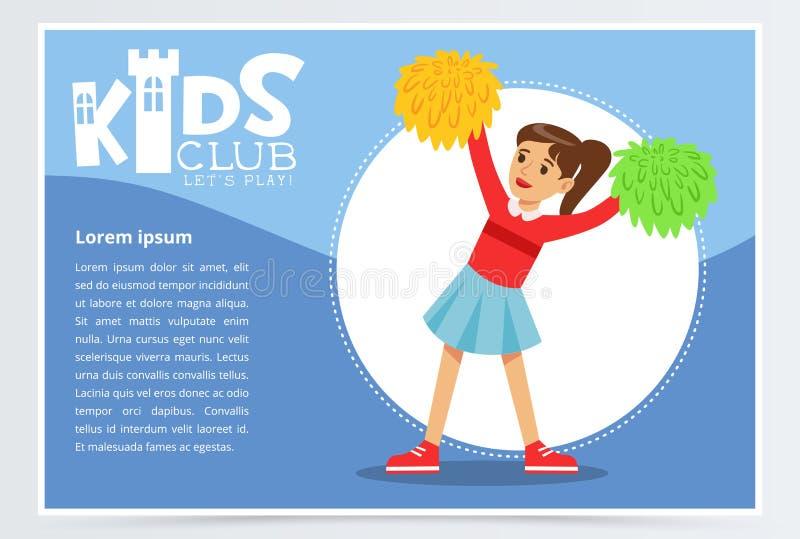 Idérik blå affisch för ungeklubba med lycklig dans för tonåringflickahejaklacksledare med pompoms Färgrik plan vektor stock illustrationer