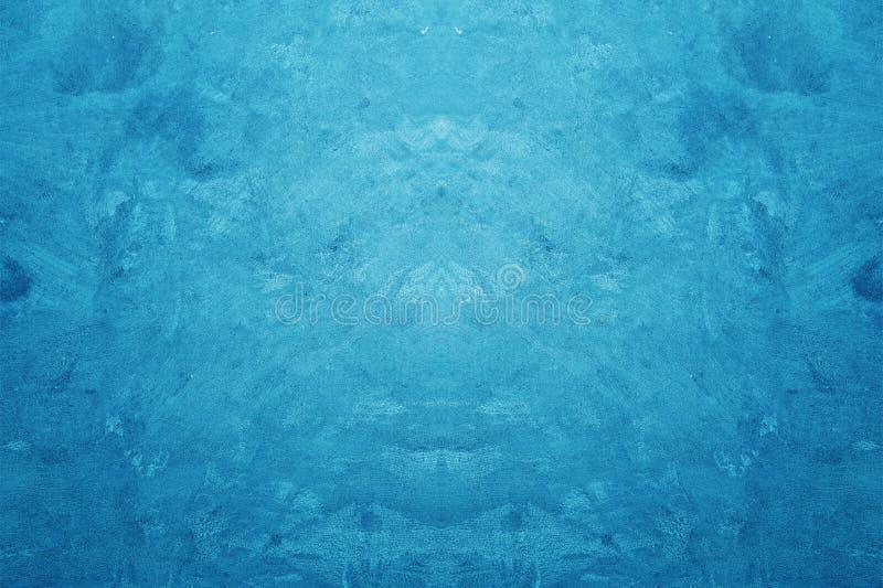Idérik blå färgbuse och bakgrund för Grungebetongtextur arkivbild