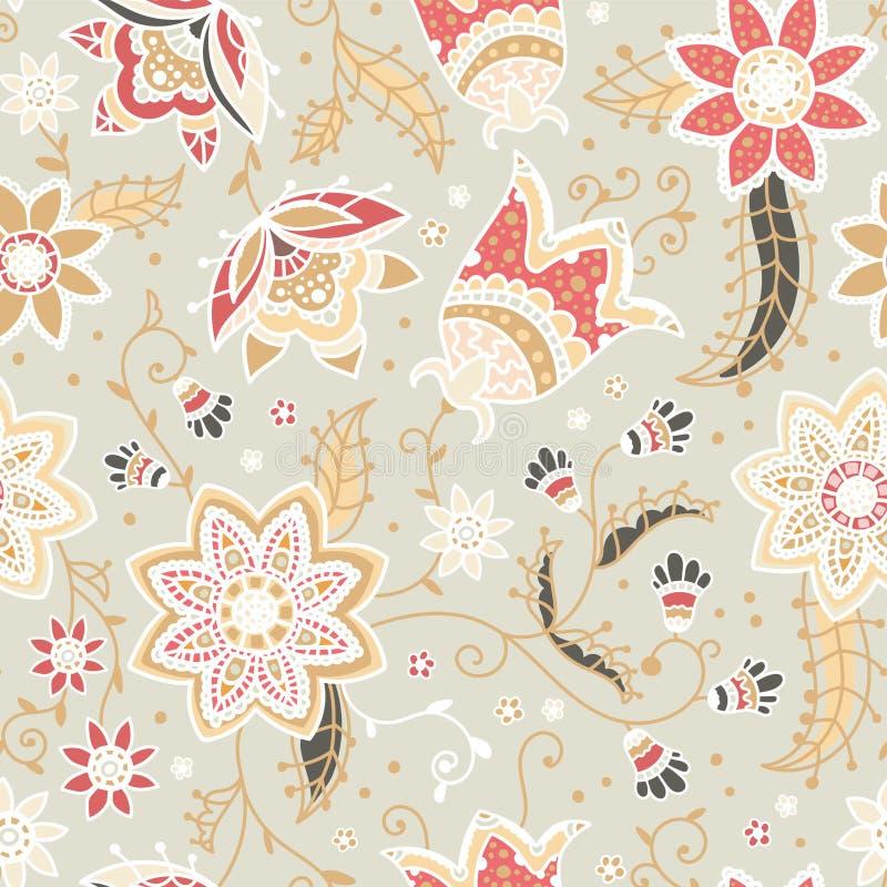 Idérik blom- sömlös modell med abstrakta klotterblommor, tappningbakgrund i beige, rött och gult naturligt - stort för royaltyfri illustrationer