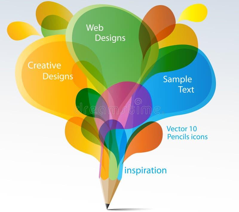 Idérik blyertspenna med färgrika anförandebubblor. vektor illustrationer