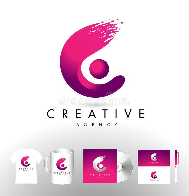 Idérik bokstav C Logo Design stock illustrationer