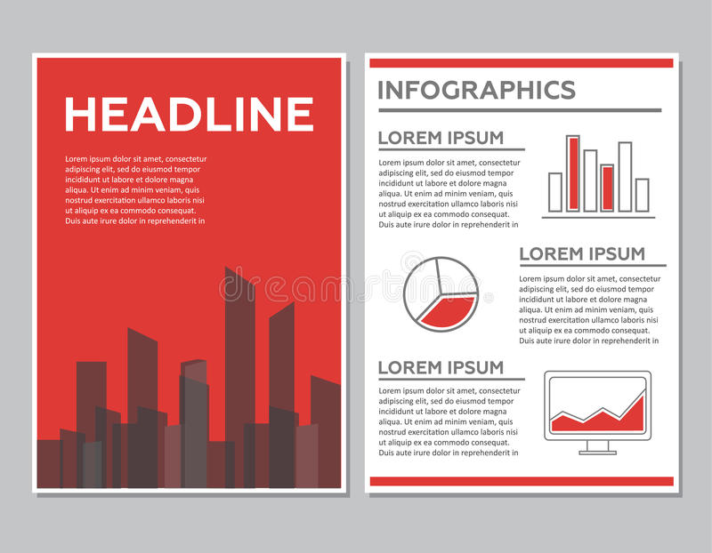 Idérik broschyrmalldesign med det infographic diagrammet Abstrakt vektorreklamblad, Pamphle vektor illustrationer