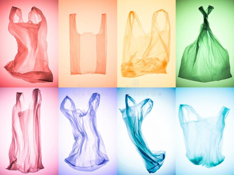 idérik collage av olika skrynkliga färgrika plastpåsar royaltyfri bild