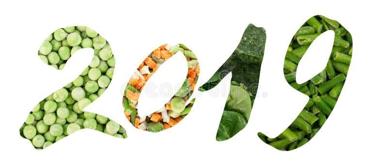 Idérik collage för 2019 nummer med djupfrysta blandade grönsaker arkivfoton