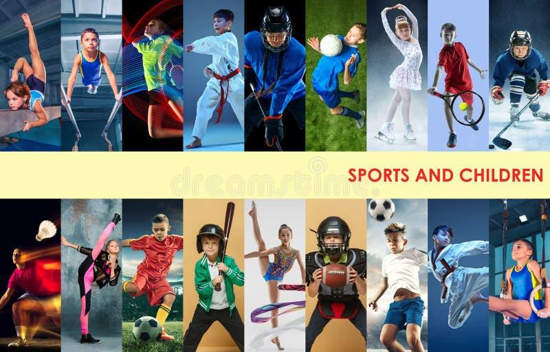 Idérik collage som göras med olika sorter av sporten arkivbilder