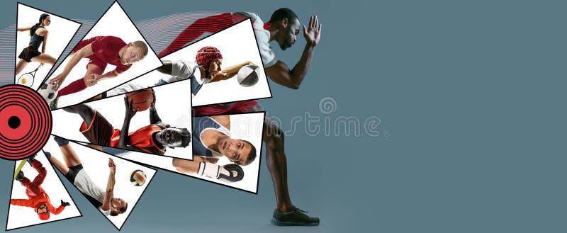 Idérik collage som göras med olika sorter av sporten royaltyfri fotografi