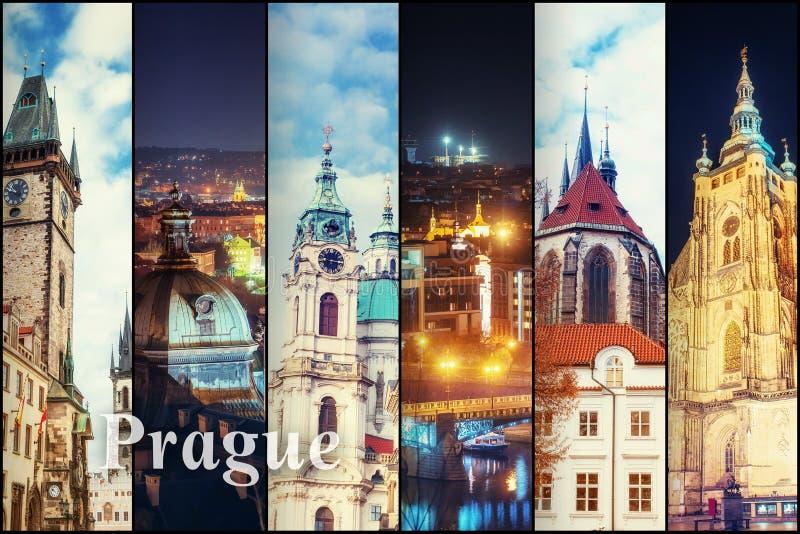 Idérik collagesikt av Prague de arkitektoniska monumenten med royaltyfri fotografi
