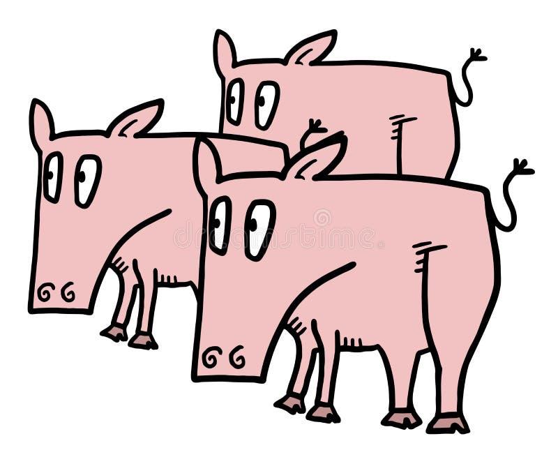 Tre pigs stock illustrationer