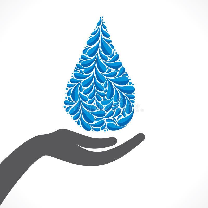 Idérik design av vattendroppe i hand eller att spara vatten stock illustrationer