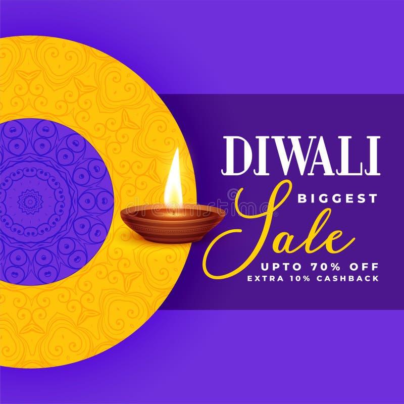 Idérik design för diwaliförsäljningsbaner i purpurfärgat tema stock illustrationer