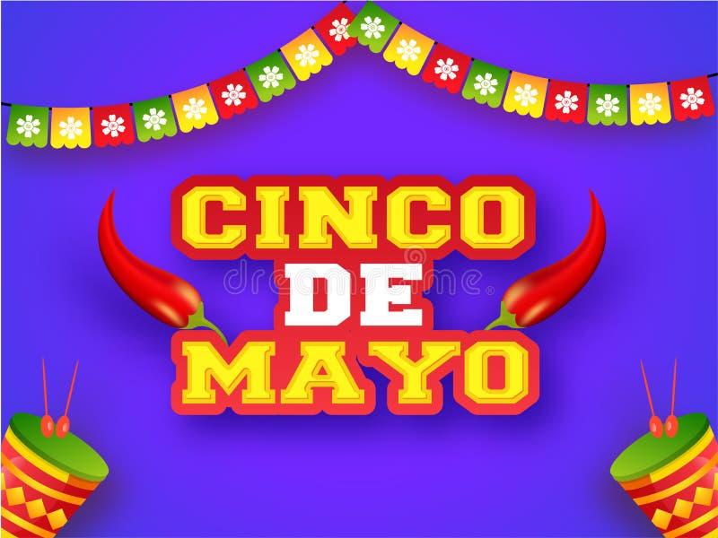 Idérik design för för fiestapartiaffisch eller reklamblad med illustrationen av den röda chili vektor illustrationer