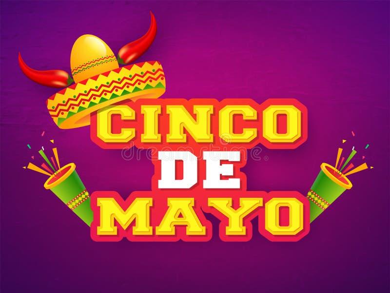 Idérik design för fiestapartireklamblad med illustrationen av sombrerohatten och den röda chili stock illustrationer