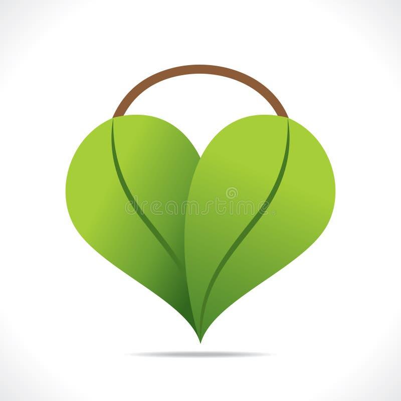 Idérik design för hjärtaformsymbol vid grönt bladbegrepp vektor illustrationer