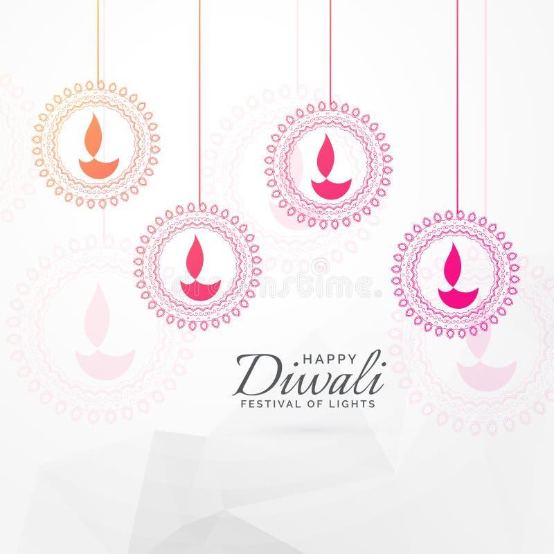Idérik design för kort för diwalifestivalhälsning med hängande diya stock illustrationer