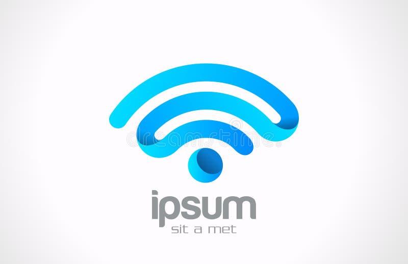Idérik design för Logo Wireless kommunikationsvektor stock illustrationer