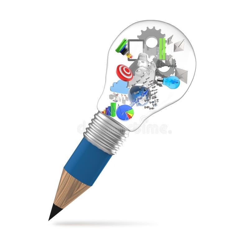 Idérik designaffär som blyertspennalightbulben 3d som vektor illustrationer
