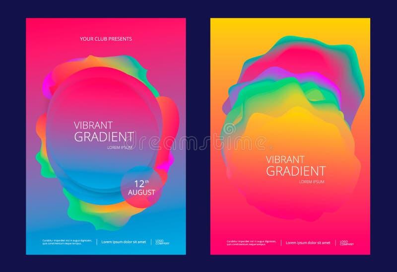 Idérik designaffisch med vibrerande lutningar stock illustrationer