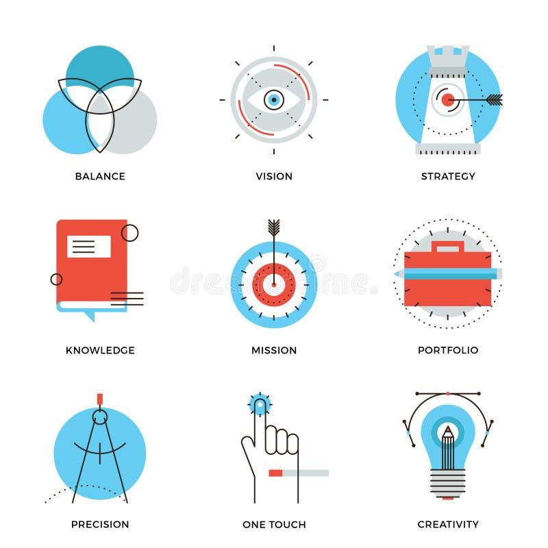 Idérik designbeståndsdellinje symbolsuppsättning royaltyfri illustrationer