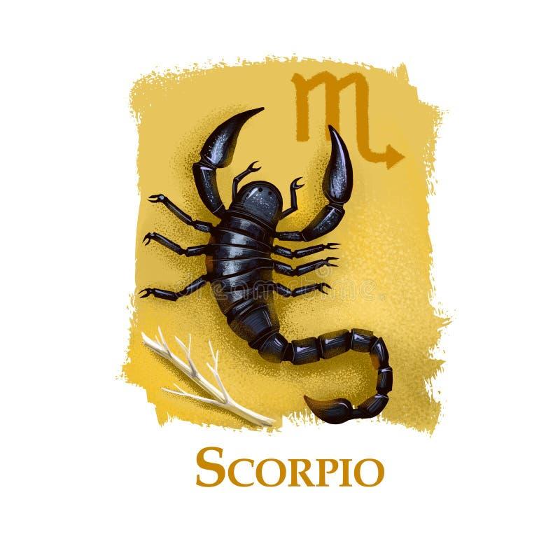 Idérik digital illustration av den astrologiska teckenSkorpion Åttondelen av tolv undertecknar in zodiak Horoskopvattenbeståndsde royaltyfri illustrationer