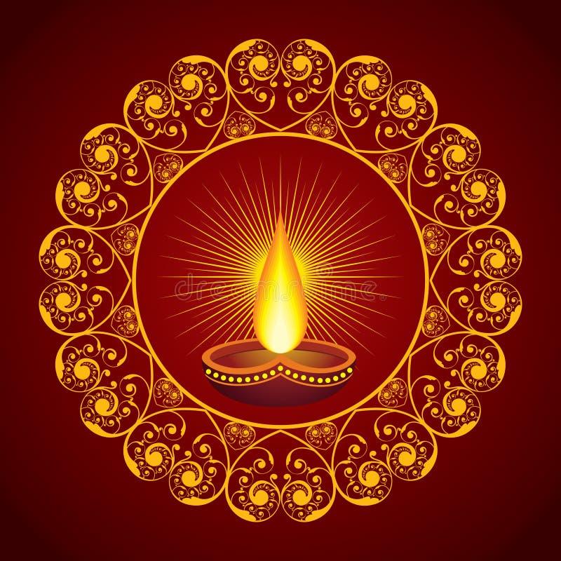 Idérik Diwali hälsning royaltyfri illustrationer