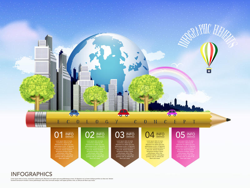 Idérik ekologibegreppsmall med infogra för blyertspennaflödesdiagram vektor illustrationer