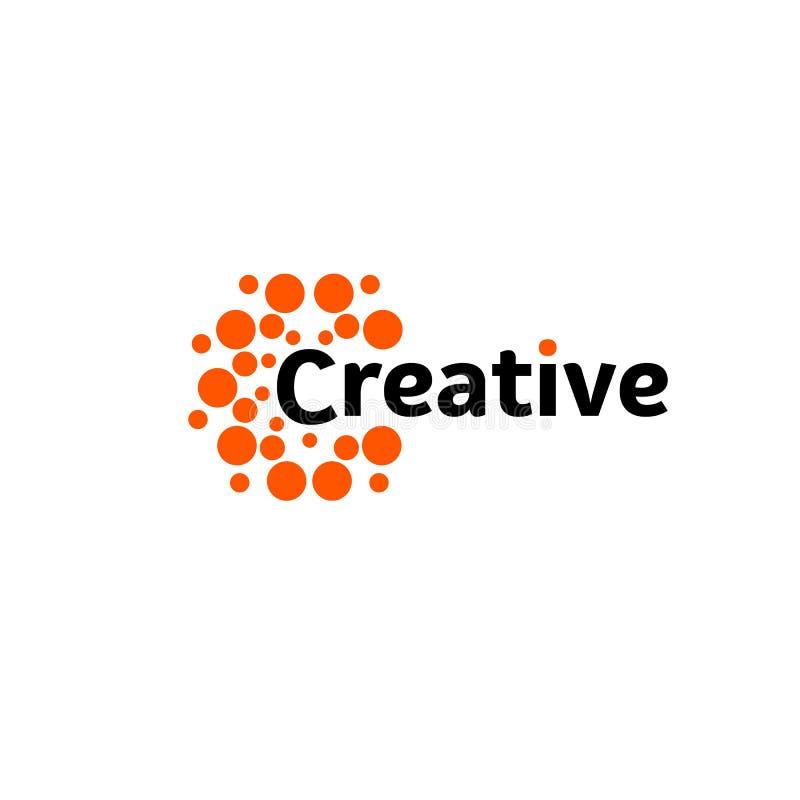 Idérik energisol Abstrakt hjärnhalvklotlogo, runda former, ovanlig logotypmall för abstrakt vektor arkivfoto