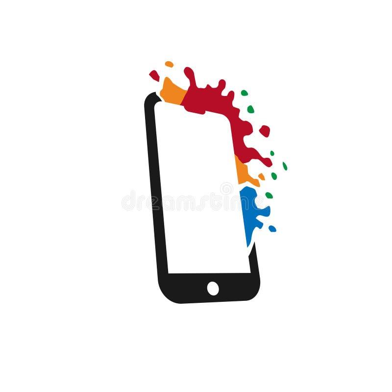Idérik färgrik smartphonelogo stock illustrationer