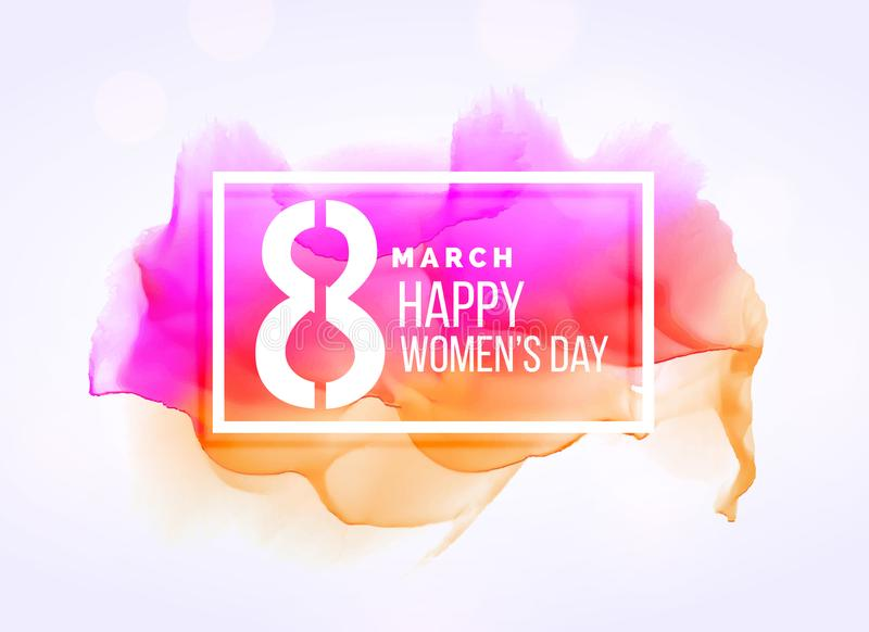 idérik för kvinna` s för marsch 8 bakgrund för dag med vattenfärgeffekt vektor illustrationer