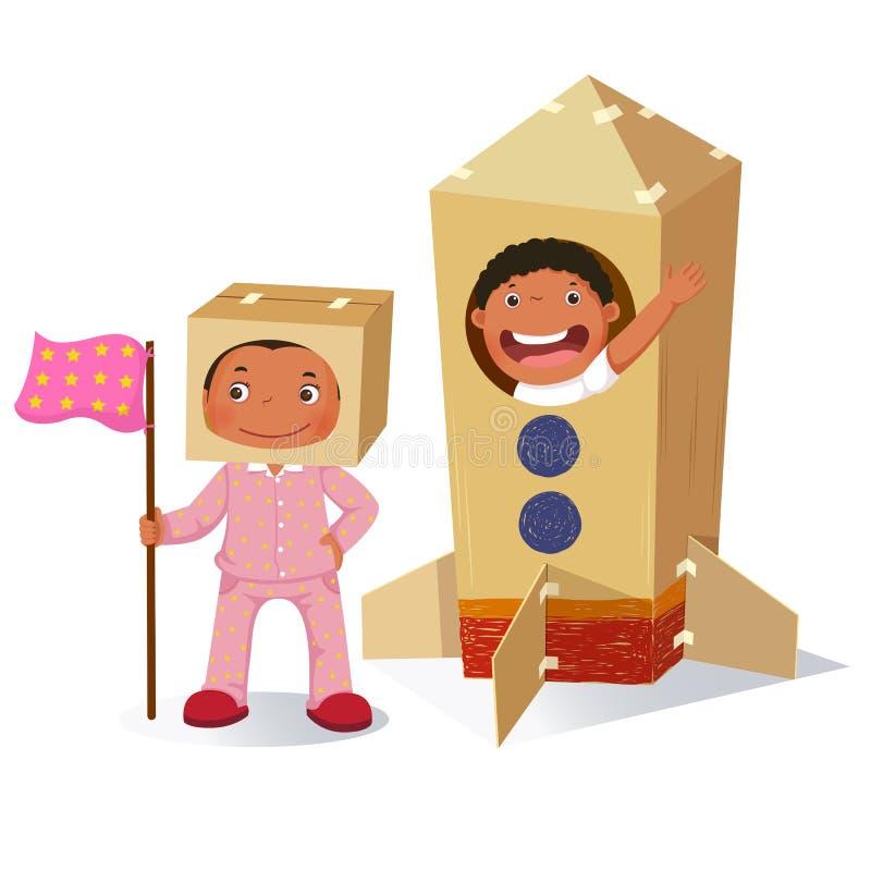 Idérik flicka som spelar som astronaut och pojke i raket som göras av bilen vektor illustrationer