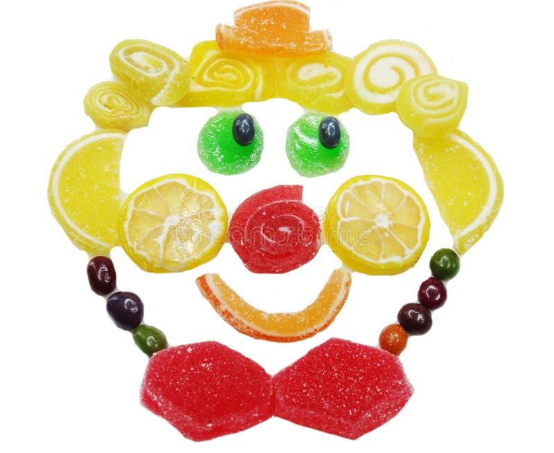 Idérik form för framsida för clown för mat för marmeladfruktgelé söt royaltyfri foto