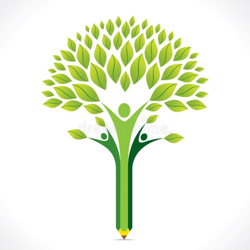 Idérik grön blyertspennaträddesign vektor illustrationer