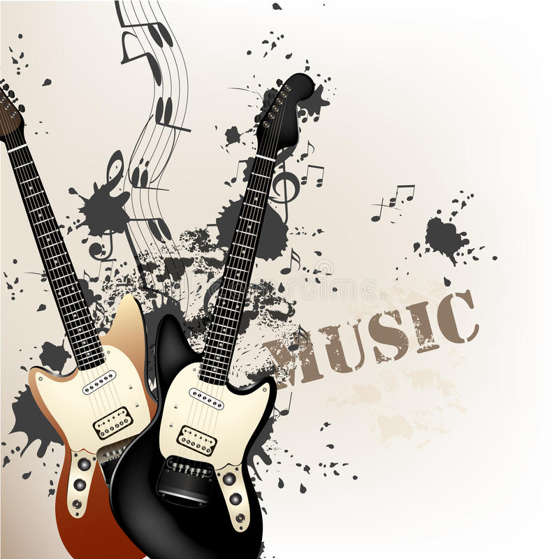 Idérik grungemusikbakgrund med elbasar stock illustrationer