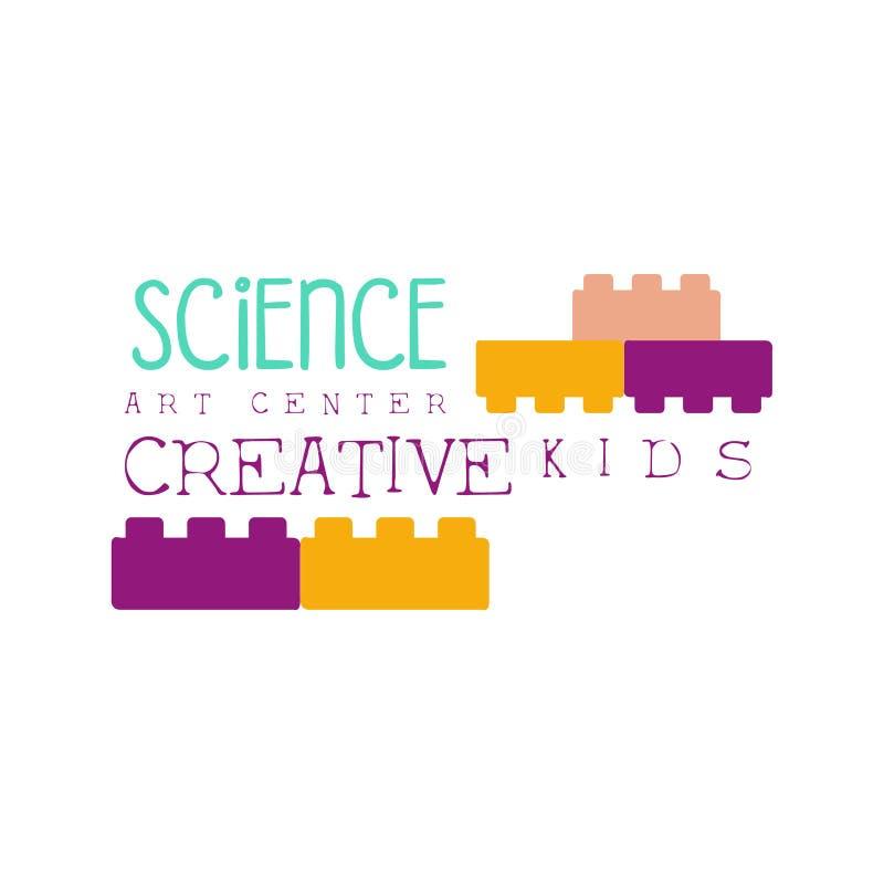 Idérik gruppmall befordrings- Logo With Constructor Building Blocks, symboler för ungar av konst och kreativitet vektor illustrationer