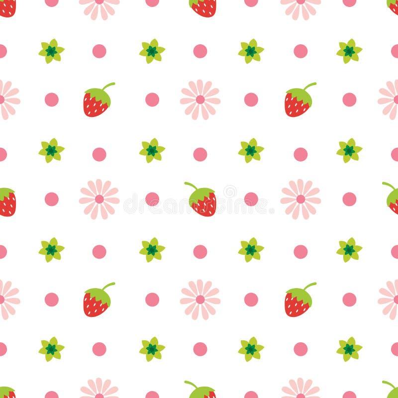 Idérik gullig frukt- och blommavektormodell vektor illustrationer