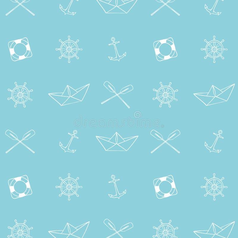 Idérik hand dragen textur Flotta/hav-/havstemadesign royaltyfri illustrationer