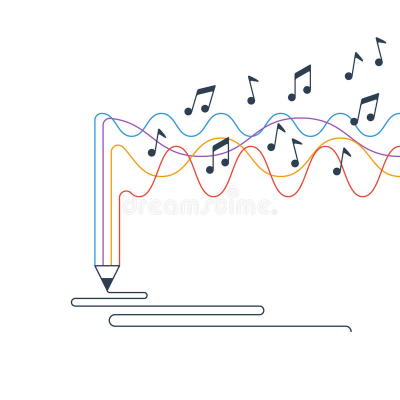 Idérik handstil och historieberättande, musikskapelsebegrepp royaltyfri illustrationer