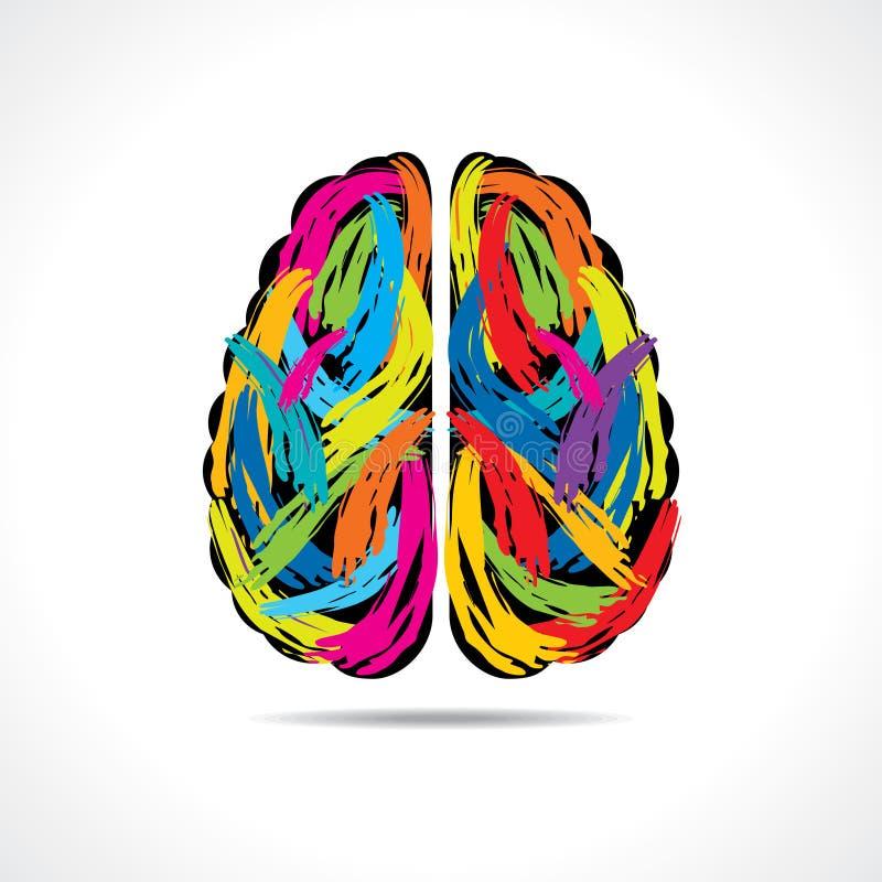 Idérik hjärna med målarfärgslaglängder stock illustrationer