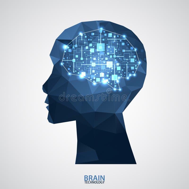Idérik hjärnbegreppsbakgrund med triangulärt raster Artifici royaltyfri illustrationer