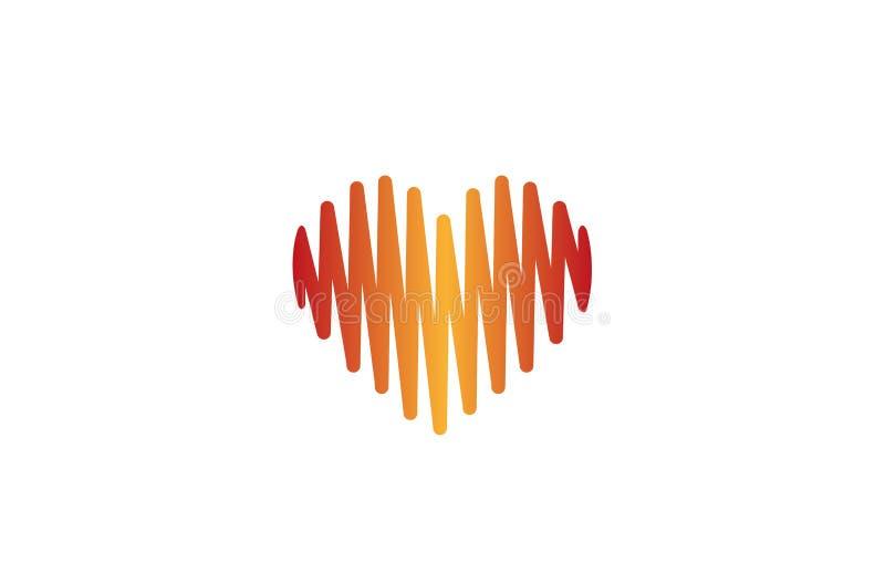 Idérik hjärtapuls Logo Design Vector Symbol Illustration royaltyfri fotografi