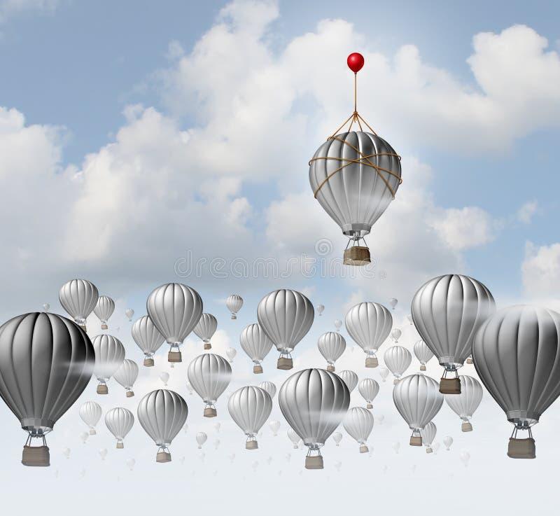 Idérik idé för kreativitet som ett begrepp av att tänka ut ur asken som en unik olik lösning för affärsframgång som en 3D royaltyfri illustrationer