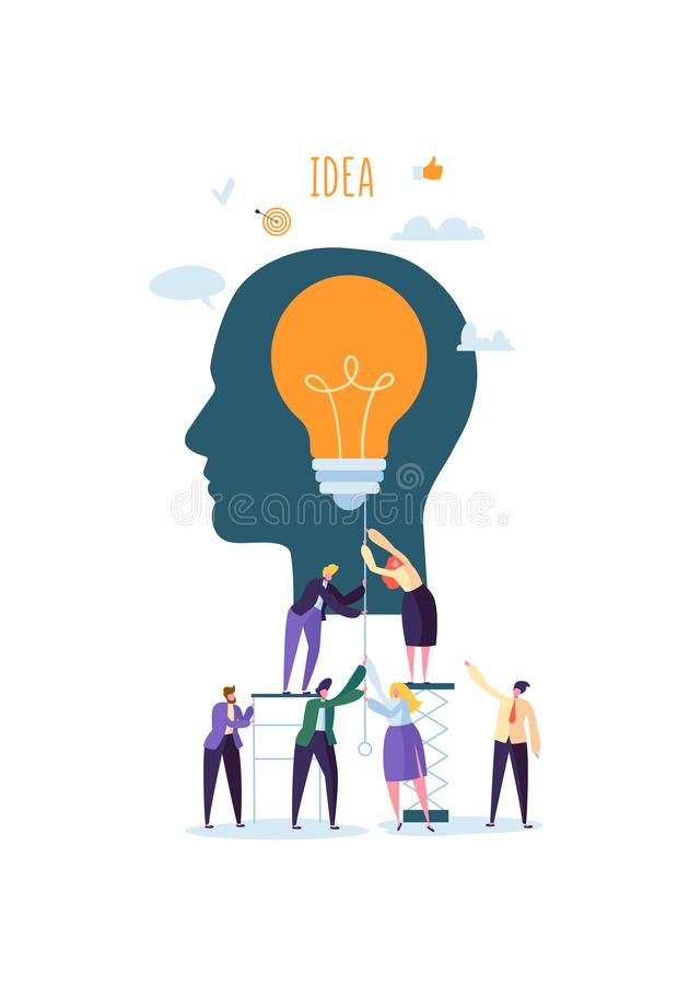 Idérik idé, fantasi, innovationbegrepp med den ljusa kulan Tecken för affärsfolk som tillsammans arbetar på projekt royaltyfri illustrationer