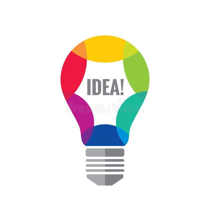 Idérik idé - illustration för begrepp för vektorlogomall Färgrik optimismsymbol för Lightbulb Realitetsymbol för elektrisk lampa stock illustrationer
