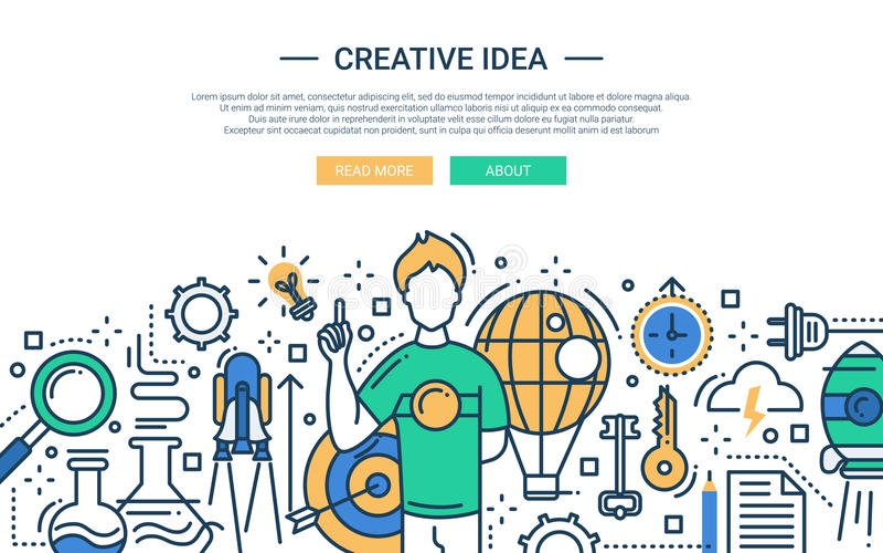 Idérik idé - linje designwebsitebaner stock illustrationer