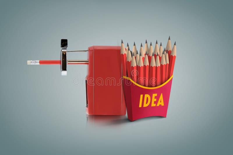 Idérik idé med den röda blyertspennan och skarpare royaltyfria foton