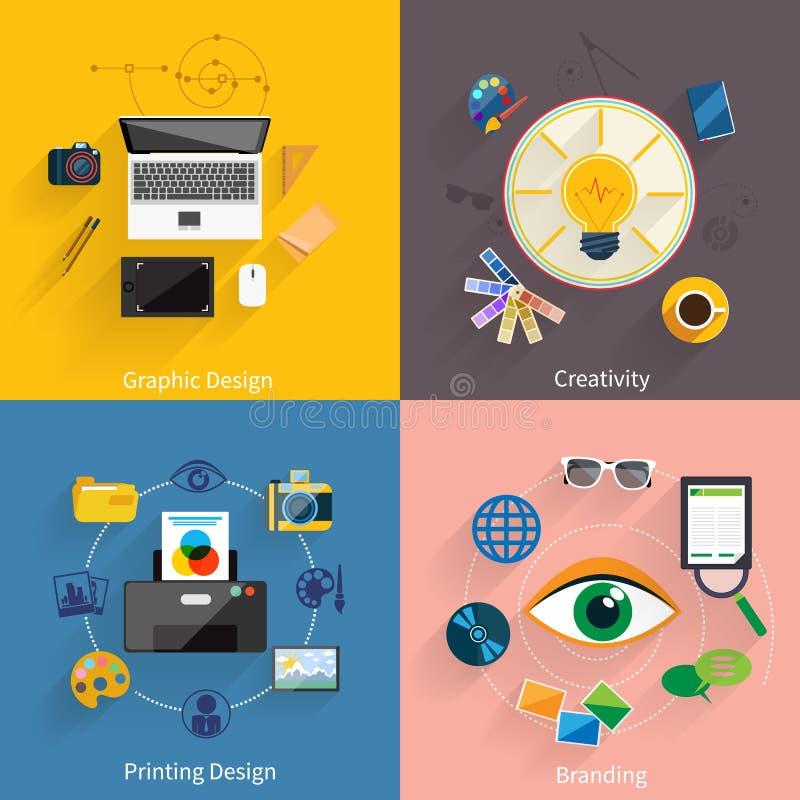 Idérik idé och att brännmärka, symbolsuppsättning för grafisk design stock illustrationer